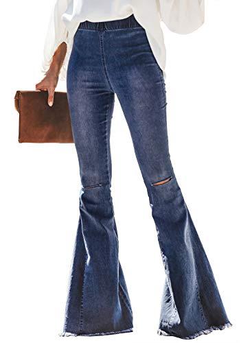 Paitluc Womens Classic Stretchy Flare Bell Bottom Denim Jeans Pants Denizen Bell Bottoms Blue Size XXL