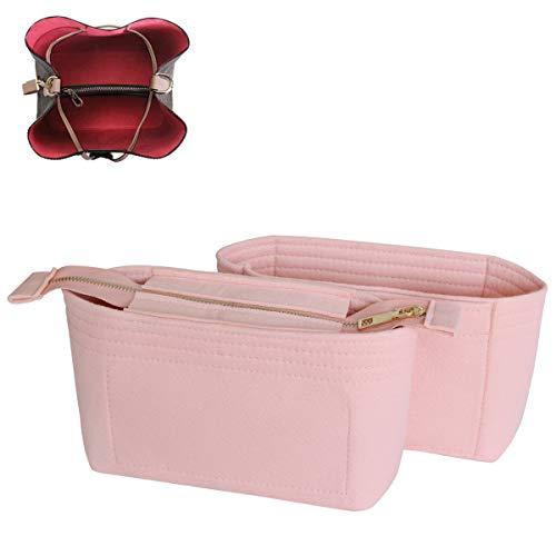 SHINGONE Taschenorganizer Filz Handtaschen Organizer mit Reißverschluss, Innentaschen für Handtaschen Bag Organizer für Damen, Taschenorganizer Hellrosa