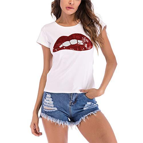 Camiseta de manga corta para mujer de verano de ocio deportes t-shirt de dibujos animados labios bordados cuello redondo suelto manga corta camiseta Rojo rosso M