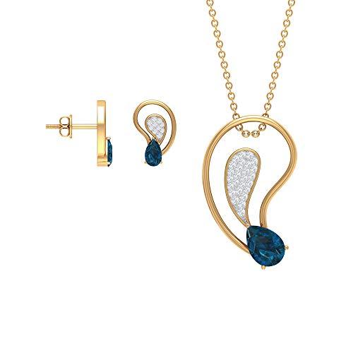 Juego de pendientes y colgante en forma de lágrima de 1,75 ct con topacio azul Londres, 1/4 quilates moderno conjunto de joyas de diamante (calidad AAA), 14K Oro amarillo, topacio azul - london