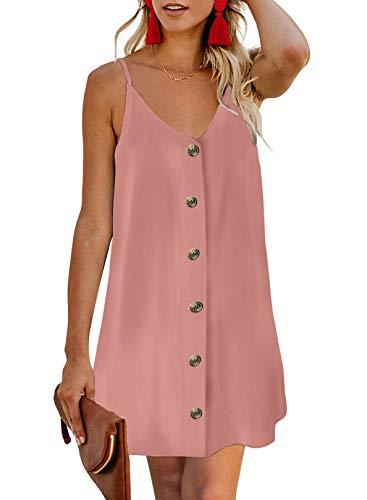 Chase Secret Beach Dresses for Women Summer Fashion V-Neck Sleeveless Mini Dresses Button up Vacation Sundress Mini Dress Pink Large