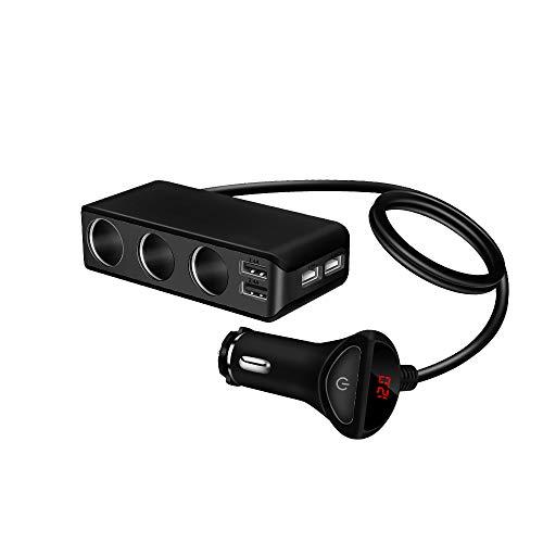 Laiashley Cargador de Coche 6.8A Metal 4 USB Cargador de Coche Adaptador de Coche con 3 Enchufes para Encendedor de Cigarrillos 120W de Potencia para Pantalla Volímetro para GPS Dashcam Dvr