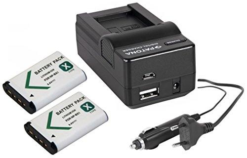 3in1-SET für den Sony HDR-CX405 Camcorder - kompatibel mit Sony Akku NP-BX1 - 2 Ersatzakkus und 4in1 Ladegerät (für USB, microUSB, 220V und Auto)