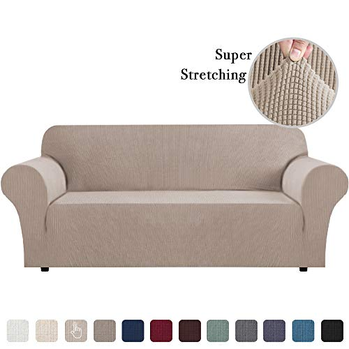Sofa Slip Cover for Leather Couch Covers for 3 Cushion Couch Lounge Cover Kids Sofa Covers Stretch Sofa Cover Set Furniture Covers for Moving, Couch Sofa Slipcover, Sand