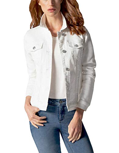 Buffalo David Bitton Women's Knit Stretch Denim Jean Jacket (White, XX-Large)