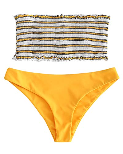 ZAFUL Women's Striped Smocked Bandeau Top Strapless Two Piece Shirred Bikini Set Swimsuit Bathing Suits Yellow