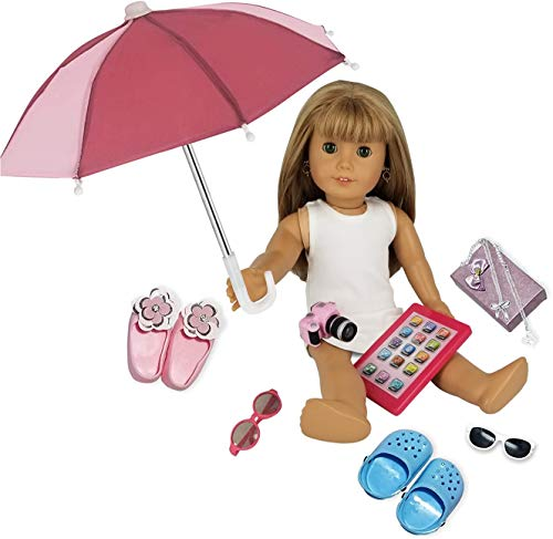 PZAS Toys Fits American Girl Doll Accessories - 18' Doll Accessories 11 Piece Set - Includes Doll iPad, Doll Umbrella, Doll Shoes, Jewelry, Camera and Doll Carrier!