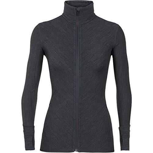 icebreaker Women's Descender LS Zip Fleece Jacket, womens, Fleece jacket., 103900001M, Jet HTHR/PRISM, M