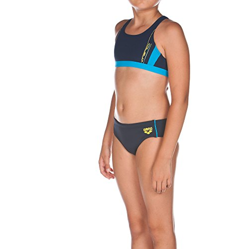 arena Mädchen Bikini Sprinter, Navy/Turquoise, 128, 1A858
