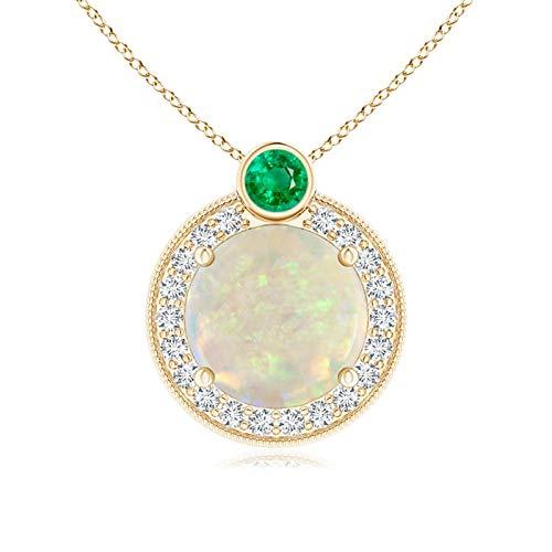 Octubre piedra natal – Natural redondo ópalo y diamante Halo colgante collar para mujer con bisel Set esmeralda (9 mm Opal)