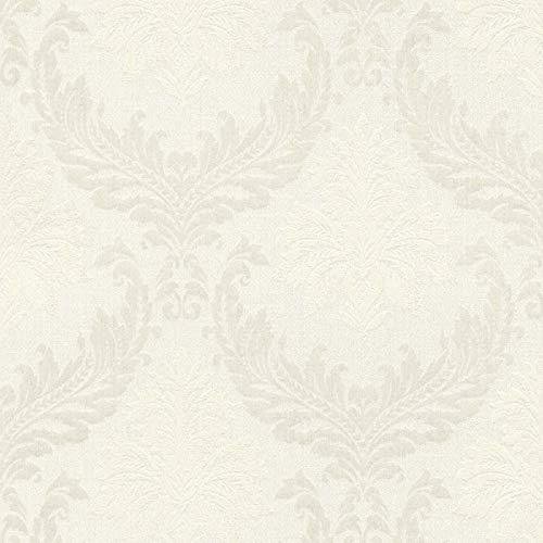 Casa Padrino Barock Textiltapete Weiß/Beige/Creme - 10,05 x 0,53 m - Stofftapete mit Vlies Struktur