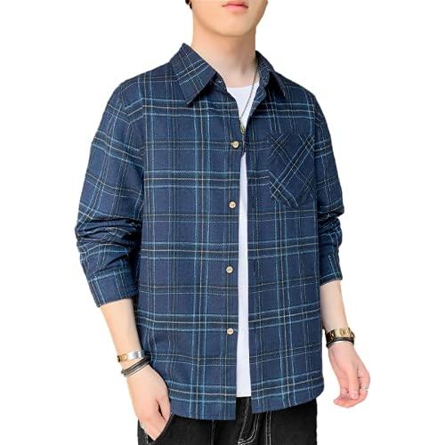 Camisa a Cuadros para Hombre, Tendencia a la Moda, Estampado de Personalidad, cómoda Camisa Informal de Manga...