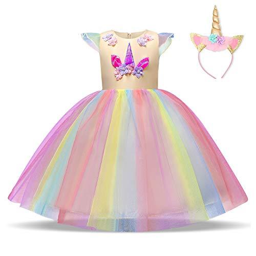 NNJXD Vestido de Unicornio para niñas Fiesta de Apliques de Flores Cosplay Disfraz de Halloween + Gorros Tamaño (150) 7-8 años Amarillo
