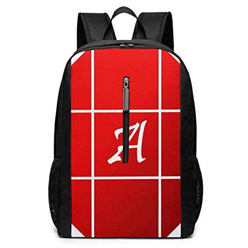 School Travel Business Bag Laptop BackpackTiled Simple Letter A Red School Backpack Shoulder Bookbags Bag for Womens Mens Youth 17'
