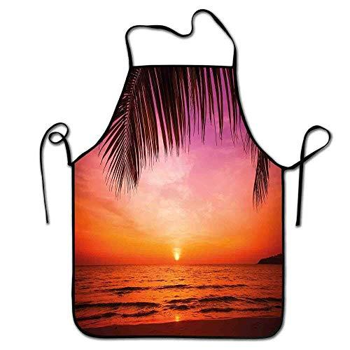 Delantal Tropical Jardinería Puesta de Sol exótica sobre el mar Paisaje de Coco Palmera Hoja Cielo Imagen Delantal Lavable Rosa Naranja