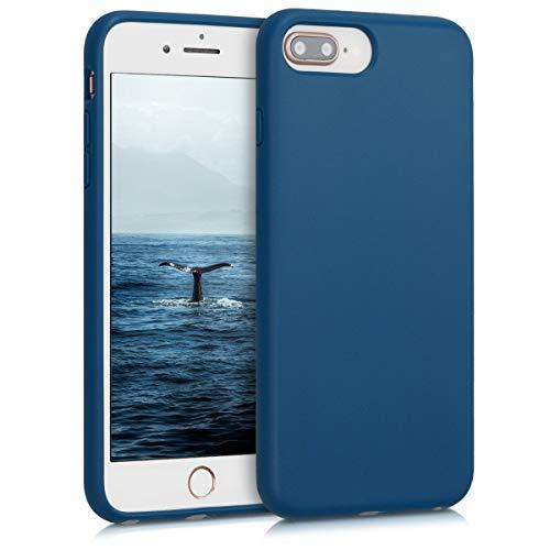 kalibri Carcasa Compatible con Apple iPhone 7 Plus / 8 Plus - Funda de TPU y Trigo Natural ecológico - Azul Oscuro