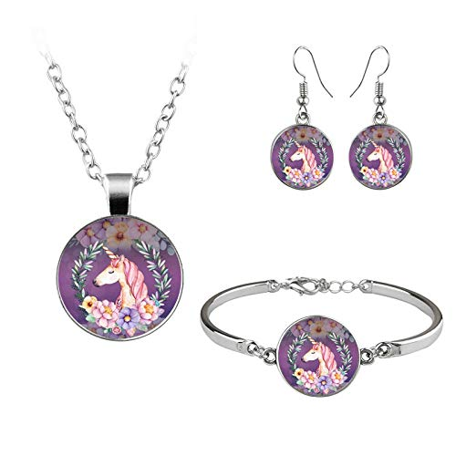 New Watercolor Necklace Bracelet Earrings Three-piece Jewelry Time Gem Set Can Be Customized-No. 1