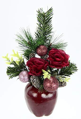 Flair Flower Gesteck Rosen im Apfeltopf,36 cm, Rot, 36x18x12 cm