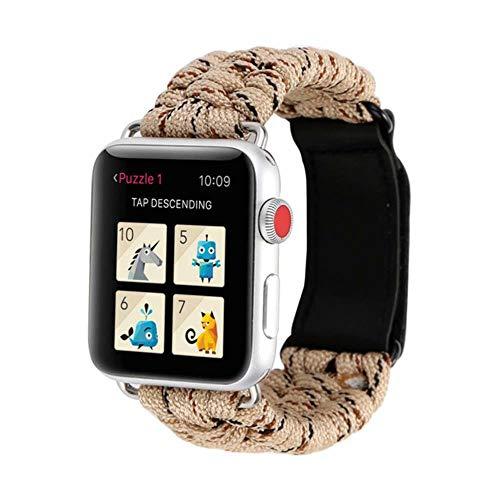 TIANQ Survival-Armband für Apple Watch 5, 44 mm, 40 mm, iWatch-Armband, 42 mm, 38 mm, Lederverschluss, für iWatch 5, 4, 3, 2, 1, China, Hanfgelb