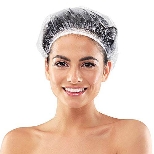 MerLerner 160 PCS Shower Caps Disposable, Larger & Thicker Clear Waterproof Plastic Elastic Hair Bath Caps Gloves More Economical Protect Hands, Travel Spa, Hair Solon, Indoors and Outdoors