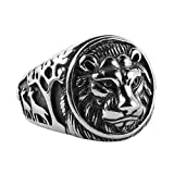 HZMAN Men's Vintage Stainless Steel Ring Lion Head Shield Biker Gold / Silver