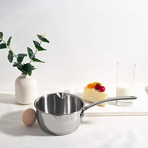 Product Image 2: IMEEA 1/2-Quart Saucepan Butter Warmer 18/10 Tri-Ply Stainless Steel Butter Melting Pot with Dual Pour Spouts