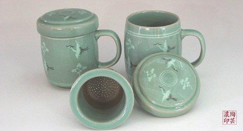 Mugs Céladon Thé Couvercle et Passoire Design Goryeo Antique Grue Eternité Corée