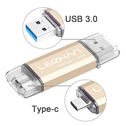 LEIZHAN Clé USB Type C 32 Go,Flash Drive USB 3.0 OTG pour Huawei Samsung Smartphone Android de Type C-Or