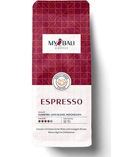 MYBALI COFFEE® Espresso Kaffeebohnen (1kg) - Arabica Bohnen Für Vollautomat Und Siebträger - Perfektes Kaffee Geschenk - Intensiv Mit Balancierter Note Und Nussigem Körper