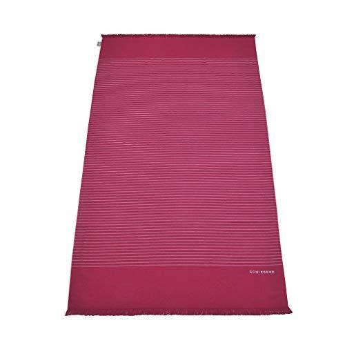 Schiesser Hamamtuch/Strandtuch/Badetuch Rom mit Fransen 100 x 180 cm, 100% Baumwolle, Farbe:pink, Größe:100 cm x 180 cm