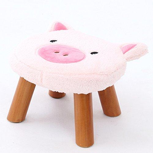Tabouret en bois avec couverture souple, chaise pour enfants, banc à chaussures, canapé, chaise de salle de jeu, chaise de salon, chaise de chambre, chaise pour animaux, cadeau pour enfants gris bleu, gris clair, gris foncé, rose, marron. (L32cm * L29cm * H21cm) ( Color : Pink )