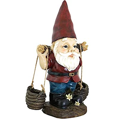Sunnydaze Peter with a Pair of Pails Gnome Statue - Outdoor, Lawn and Garden Decoration Sculpture - Contemporary Design - Durable Resin Construction - 14-Inch