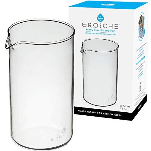 GROSCHE Standard Universal design French Press Replacement Glass Beaker French Press Coffee makers (1000 ml / 34 oz / 8 demitasse cup carafe) Fits Most Brands
