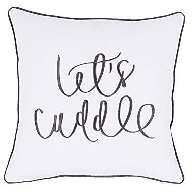 ADecor Lets cuddle pillow cases embroidered cushion cover throw pillow couple wedding anniversary love P352 (18X18, Ivory)