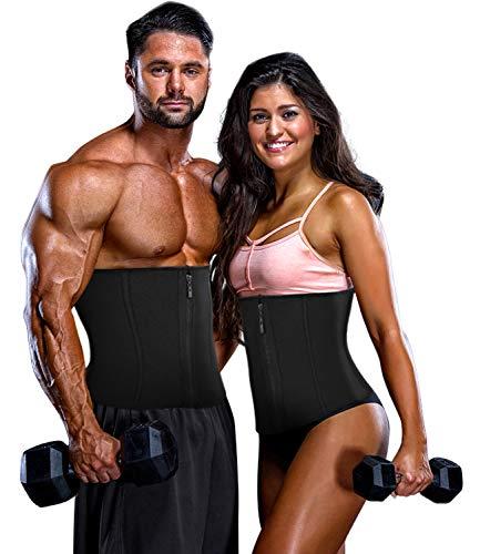 COMFREE Waist Trainer Taillengürtel Damen Sport Schlankheit Shapewear Waist Trainer Trimmer Gürtel Verstellbarer mit Reißverschluss Schwarz S