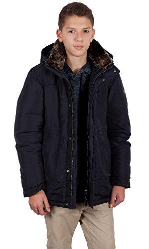 Grimada V905 winterjas voor jongens SNOWIMAGE met afneembare echte bontcapuchon blauw