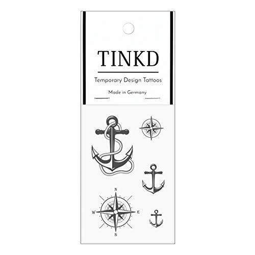 TINKD Klebe-Tattoos   Anker Kompass Koordinaten Fake-Tattoos   Made in Germany