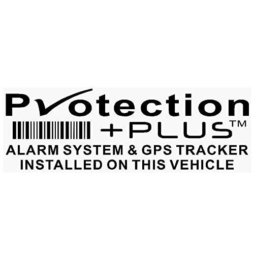 """Warn-Aufkleber für Fenster, 5 Stück, schwarz, Aufschrift: """"Protection Plus - Alarm System & GPS Tracker"""",  87 x 30 mm, für Auto, Lieferwagen - Warnung, Abschreckung, Sicherheit"""
