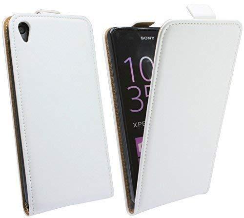 ENERGMiX Klapptasche Schutztasche kompatibel mit Sony Xperia E5 in Weiß Tasche Etui Flip-Cover Klapphülle Hülle