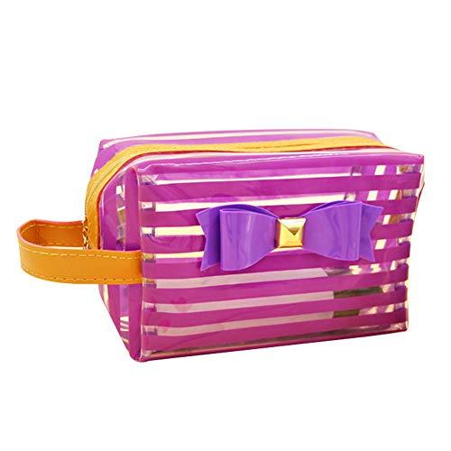 Fablcrew Sac cosmétique imperméable Stripe Bow Travel Waterproof PVC Cosmetic Bag Sac cosmétique Multifonctionnel