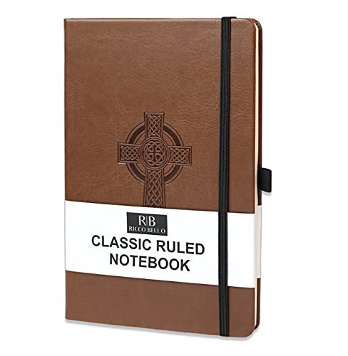 RICCO BELLO College Ruled Hardcover Lined Lay Flat Journal Notebook - Vegan Friendly Faux Leather, Elastic Closure, Pen Loop, Bookmark, Inner Pocket, 192 Lined Pages, 5.7 x 8.4 inches (Cross)