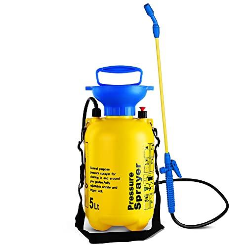 EVELYN LIVING 5L Garden Pressure Sprayer Knapsack Weed Chemical Killer Portable Pump Action Adjustable Nozzle Pressure Release Value Insecticides Pesticides Fertilizers Fence Patio (5 Litre)