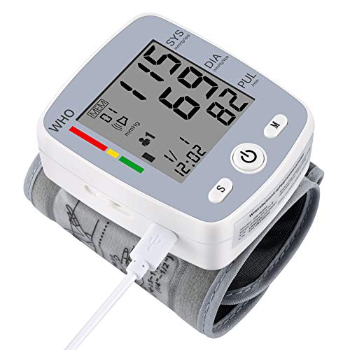 U-KISS Misuratore di Pressione da Polso Digitale, Sfigmomanometro da Polso e Pulsazione Rilevazione Automatica, Data e archiviazione accurate dei dati 2 x 90,Ampio Display LCD (Grigio)