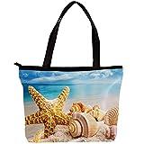 LORVIES - Bolso bandolera para mujer, diseño de estrella de mar y conchas en la playa