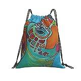 Mochila con cordón de pintura de tortuga para deporte, gimnasio, senderismo, yoga, natación, viajes, playa, para mujeres, hombres y mujeres - blanco - talla única