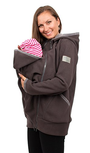 Viva la Mama Tragejacke mit Einsatz Fleece Umstandsjacke warm Damen Baby Jacke - Jesper - grau - M