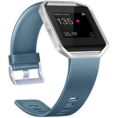 Tobfit Armband Kompatibel mit Fitbit Blaze, Silikon Verstellbar Ersatz Sport Uhrenarmbänder Kompatibel mit Fitbit Blaze Kleine Große Damen Herren (Schiefer, Small)