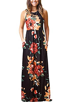 Women's Summer Casual Floral Sleeveless Loose Plain Long Maxi Dress with Pockets