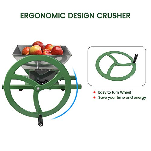 Fruit and Apple Crusher - 7L Stainless Steel Manual Juicer Grinder, Fruit Scratter Pulper for Wine and Cider Pressing
