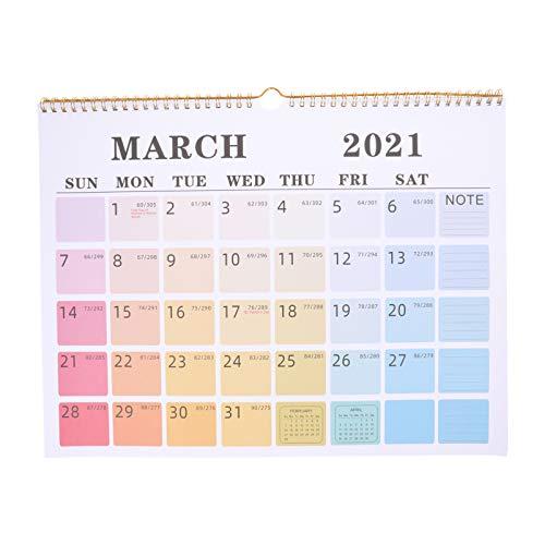 KESYOO カレンダー 壁掛け 2021 計画書 実用性 ホーム 英語カレンダー 事務室 多機能 シンプル